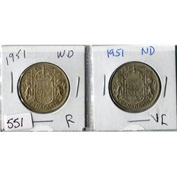 LOT OF 2 FIFTY CENT COINS (CANADA) *1951* (WIDE DATE & NARROW DATE)