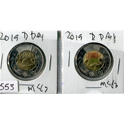 LOT OF 2 TWO DOLLAR COINS (CANADA) *2019* (D DAY)