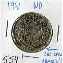 FIFTY CENT COIN (CANADA) *1941* (NARROW DATE) *DIE CRACK AROUND 1*