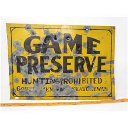 """TIN SIGN (GAME PRESERVE) *LOTS OF BULLET HOLES* (20' X 14"""")"""