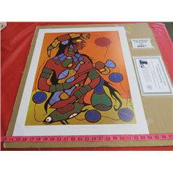 """PRINT (MAN CHANGING INTO THUNDERBIRD) *89/950* (SIGNED BY NORVAL MORRISEAU) *COA* (20"""" X 24"""")"""