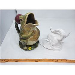 LOT INCLUDING A CERAMIC FROG PITCHER & ELEPHANT ORNAMENT