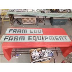 GLASS FARM EQUIPMENT SIGNS (1 COMPLETE, 1 HALF, 3 PIECES TOTAL)