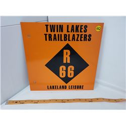 2 SIDED TWIN LAKES TRAILBLAZER METAL SIGN