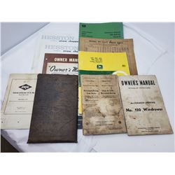 LOT OF ASSORTED JOHN DEERE & CASE IH MANUALS ETC