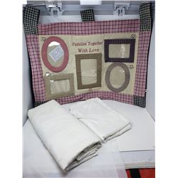 LOT OF ASSORTED TABLE CLOTHS (2) *HOME MADE PHOTO HANGER*