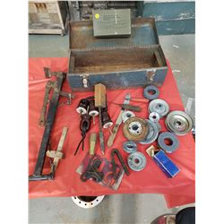 METAL TOOL BOX (WITH VINTAGE PULLEYS, INSULATORS AND TOOLS)
