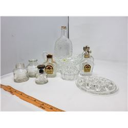 LOT OF ASSORTED GLASSWARE AND BOTTLES