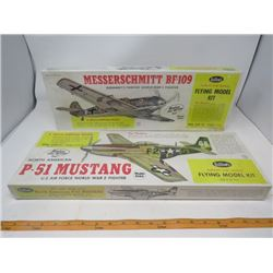 "LOT OF 2 MODEL AIRPLANES (NOS) *BALSA* (P-51 MUSTANG, MESSERSCHMITT BF-109) *WING SPAN 27.75""* (SCAL"