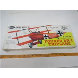 "ONE MODEL AIRPLANE (NOS) *BALSA* (FOKKER DR-I TRIPLANE) *20"" WING SPAN*"