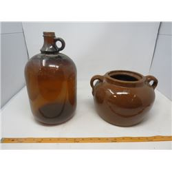 LOT OF 2 JUGS (ONE CERAMIC)