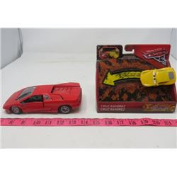 LOT OF 2 TOY COLLECTABLES (RED DIECAST LAMBORGHINI, 1/24 SCALE) *PIXAR CAR WITH BOX*