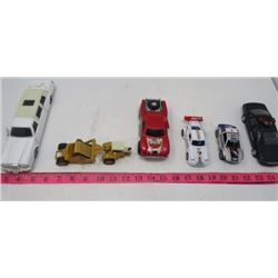 LOT OF 7 COLLECTABLE CARS (SOME DIE CAST) *WHITE LIMO, POLICE CAR, TRACTOR WITH CONVEYOR, LOADER, ET
