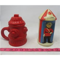 LOT OF 2 CERAMIC ITEMS (R.C.M.P. BANK) *FIRE HYDRANT MUG WITH LID*