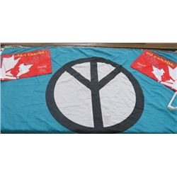"LOT OF 3 FLAGS (2 X CAR FLAGS) *PEACE SYMBOL 60"" X 35""*"