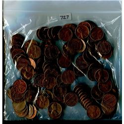 LOT OF APPROXIMATLY 100 -1 CENT COINS (MOSTLY USA, SOME CANADIAN) *ASSORTED DATES* (NICE SELECTION)