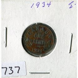 ONE CENT COIN (CANADA) *1934*