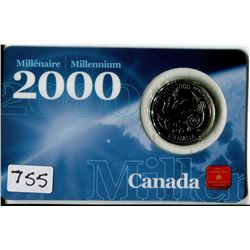 CANADIAN MILLENNIUM COIN (25 CENTS) *WITH COLLECTOR CARD* (ACHIEVEMENT)