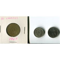LOT OF 3 FOREIGN COINS (20 CENTIMES, 50 NENTA, 1/2 FRANC) *1964, 65, 67*