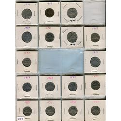 LOT OF 17- FIVE CENT COINS (CANADA) *ASSORTED DATES 1933 TO 1981* (HAS 1943 AND 1944 VICTORY INCLUDE