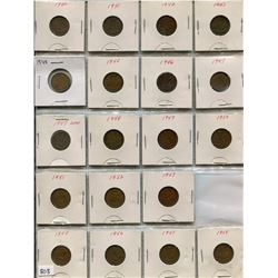 LOT OF 19- ONE CENT COINS (CANADA) *1940 THROUGH TO 1958* (MISSING 1954)
