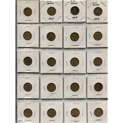 LOT OF 20-ONE CENT COINS (USA) *VARIOUS DATES BETWEEN 1917-1974*