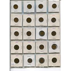 LOT OF 20-ONE CENT COINS (USA) *VARIOUS DATES BETWEEN 1927-1968*