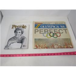 PEOPLE MAGAZINE COLLECTORS ADDITION (PRINCESS DIANA) AND A COMPLETE CALGARY HERALD OLYMPIC FARWELL N