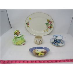 LOT OF 6 PIECES OF KITCHENWARE (TEA CUP AND SAUCER, GIRL VASE, ETC) *SOME ROYAL ALBERT*