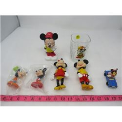 LOT OF 7 DISNEY ITEMS (MICKEY MOUSE) *1 X GLASS*