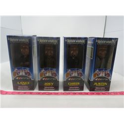 LOT OF 4 N'SYNC BOBBLE HEAD DOLLS (NEW IN BOX) *JOEY, CHRIS, LANCE, AND JUSTIN*