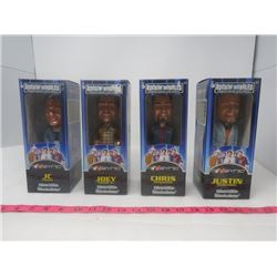 LOT OF 4 N'SYNC BOBBLE HEAD DOLLS (NEW IN BOX) *JC, JOEY, CHRIS, AND JUSTIN*