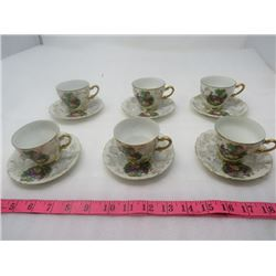 LOT OF 6 DEMITASSE CUPS AND SAUCERS