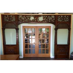 RARE 1800'S HIGHLY DETAILED HAND CARVED ROSEWOOD ARCHITECTURAL ARCHWAY