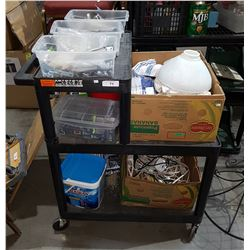 ROLLING WORK BENCH LOADED W/BINS & BOXES MISC. HARDWARE ETC