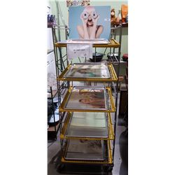 MOVIE PROP - DOUGHNUT SHOP ROLLING RACK W/TRAYS & PICTURES