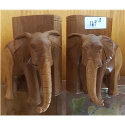 PAIR OF CARVED WOOD ELEPHANT BOOK ENDS