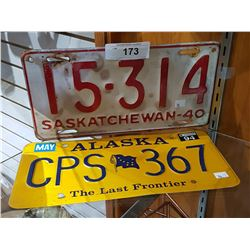 TWO VINTAGE LICENSE PLATES
