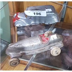 VINTAGE METAL RACE CAR & COIN BANK