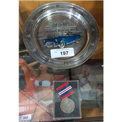 WWII MEDAL & PEWTER THUNDERBIRD CAR PLATE