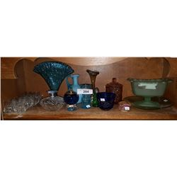 SHELF LOT OF ART GLASS