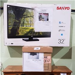 "SANYO 32"" FLAT SCREEN TV & WALL MOUNT - MOVIE PROP"