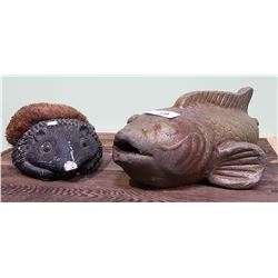 STONE FISH GARDEN ORNAMENT & HEDGEHOG FOOT SCRAPER - MOVIE PROP