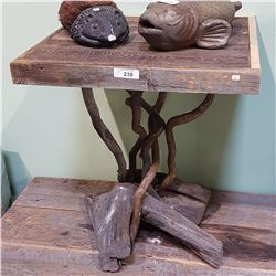 CUSTOM RECLAIMED WOOD W/DRIFTWOOD BASE OCCASIONAL TABLE