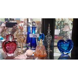 SIX ART GLASS PERFUME BOTTLES