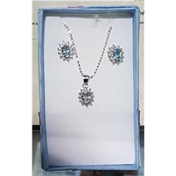 STERLING SILVER BLUE TOPAZ NECKLACE & EARRING SET
