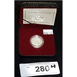 ROYAL CANADIAN MINT 125TH ANNIVERSARY ROYAL MILITARY COLLEGE STERLIN SILVER 5 CENT COIN