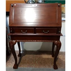 MAHOGANY DROP FRONT LADIES DESK W/FITTED INTERIOR ON BALL IN CLAW LEGS