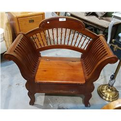 MAHOGANY EMPIRE STYLE ENTRANCE BENCH W/STORAGE UNDER SEAT