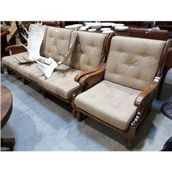 VINTAGE MAPLE COUNTRY SOFA & CHAIR